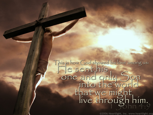 """The picture shows a realistic image of Jesus on the cross.  This demonstrated his love through God's lavish grace to save sinners in that """"He sent his one and only Son into the world that we might live through him"""". 1 John 4:9"""