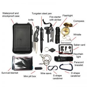 Living for God's Glory requires a spiritual survival Kit. This is a photo of a wilderness survival kit and its' 15 contents, illustrating most of the things a person needs to survive in the wilderness..