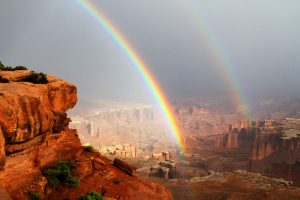 Revelation of God's glory in this photo of a double rainbow in Canyonlands National Park